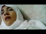 Sexy arab teen in erotic black stockings is masturbating